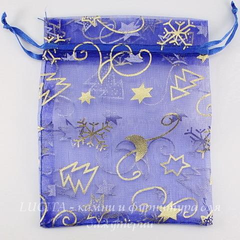 """Подарочный мешочек из органзы """"Зима"""" синий с золотым, 12х10 см"""