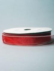 Лента органза с каймой красная