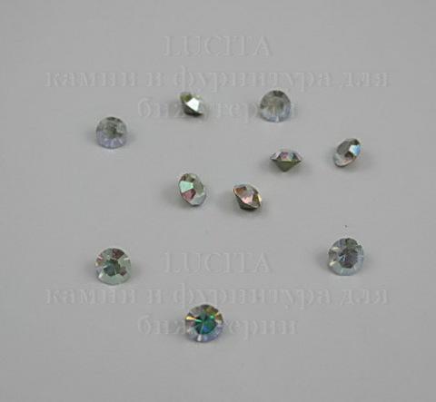 Стразы ювелирные (цвет - прозрачный c AB - покрытием) 4 мм, 10 шт