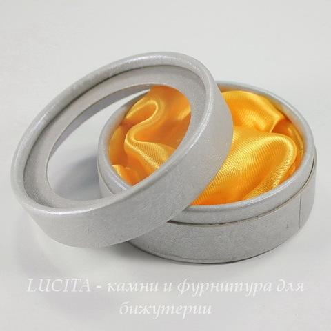 Подарочная коробочка круглая (цвет - серебристый), 84х35 мм