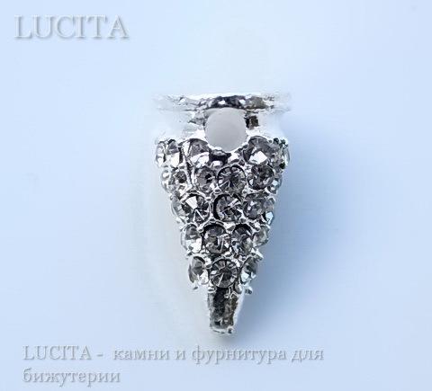 """Бусина """"Шип"""" со стразами (цвет - серебро) 19х6 мм ()"""