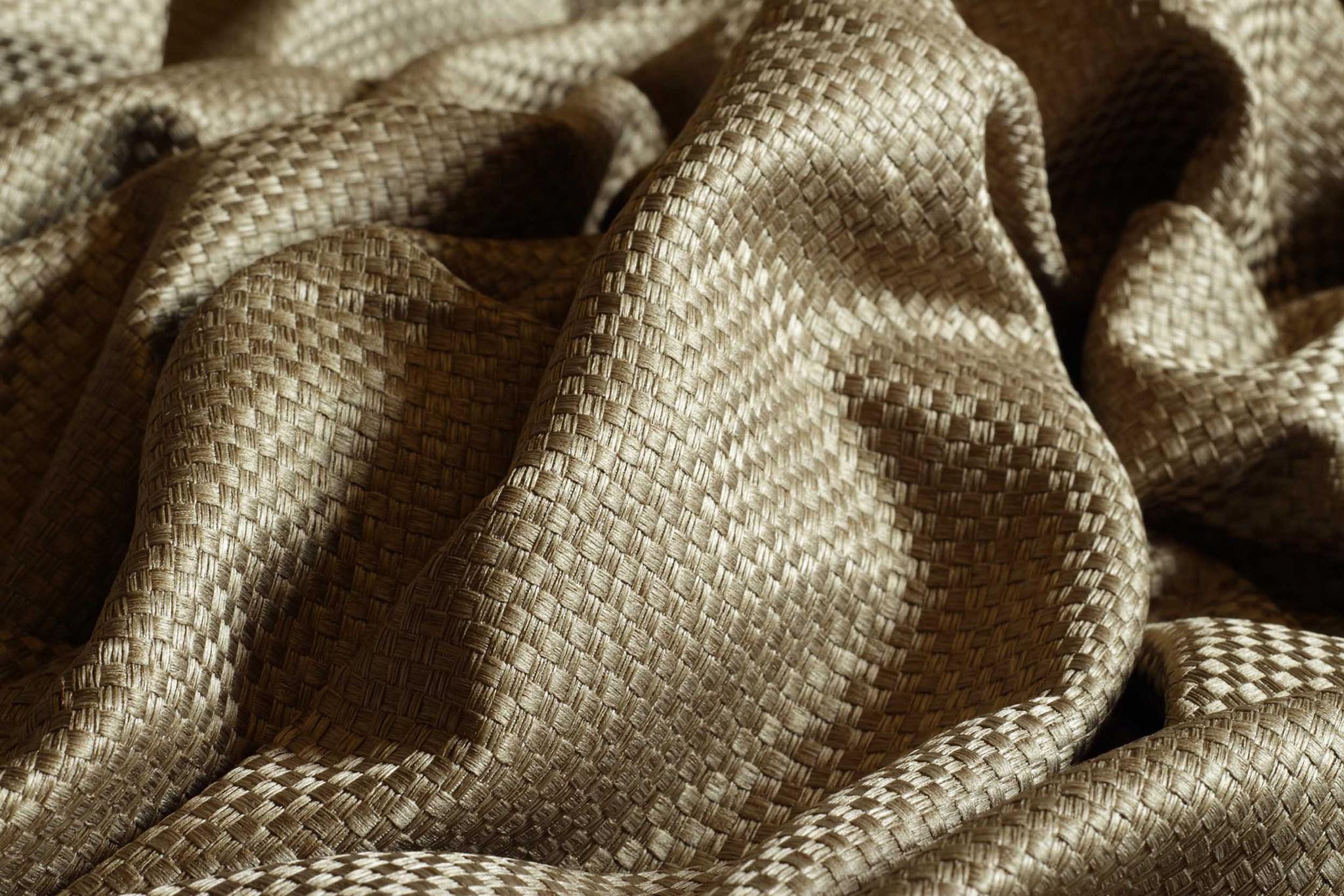 Готовая штора. Портьера плотная с шахматным плетением (светло - коричневый)
