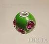 """Бусина """"Индонезийская"""" ручной работы зеленая с розовыми стразами, 18х16 мм ()"""