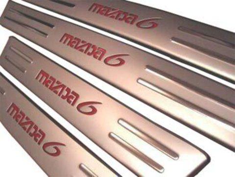 Светящиеся накладки порогов Mazda 6 (red light, matt chrome)