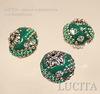 """Бусина """"Индонезийская"""" ручной работы, цвет - зеленый с прозрачными стразами, 19 мм ()"""