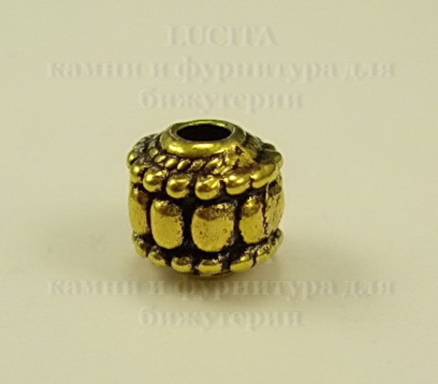 "Бусина металлическая ""Фонарик"" 7х7 мм (цвет - античное золото) ()"