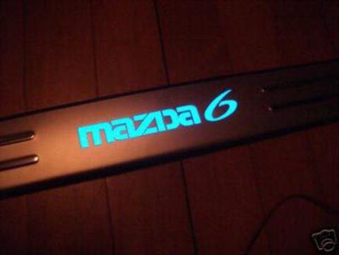 Светящиеся накладки порогов Mazda 6 (blue light, matt chrome)