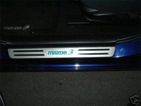 Светящиеся накладки порогов Mazda 3 (blue light, matt chrome)