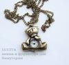 "Часы на цепочке ""Мишка Тедди"" (цвет - античная бронза) 40х36х9 мм"