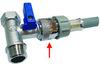 Кран вода 3-х проходной BUGATTI UDI - RUS 1/2 х 3/4 х 1/2 с защитным устройством аквастоп