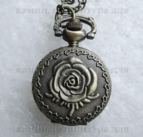 Часы на цепочке с розой (цвет - античная бронза) 36х27Х12 мм ()