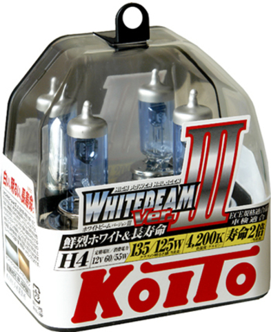 Галогенные лампы KOITO H4 WhiteBeam III (4200K) P0754W