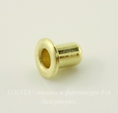 Заклепка с отверстием TierraCast (цвет-латунь) 3,7х2,2 мм, 5 штук