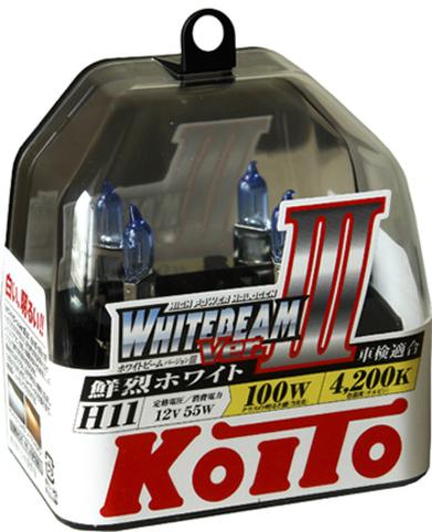 Галогенные лампы KOITO H11 WhiteBeam III (4000K)