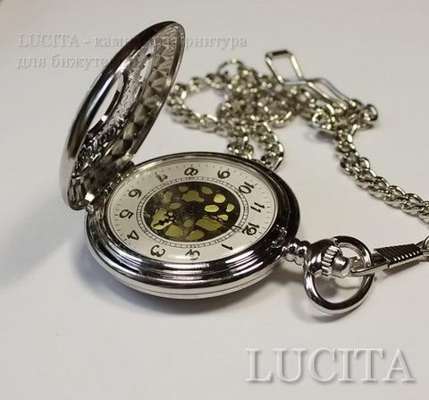 Часы на цепочке (цвет - античное серебро) 64х47х15 мм ()