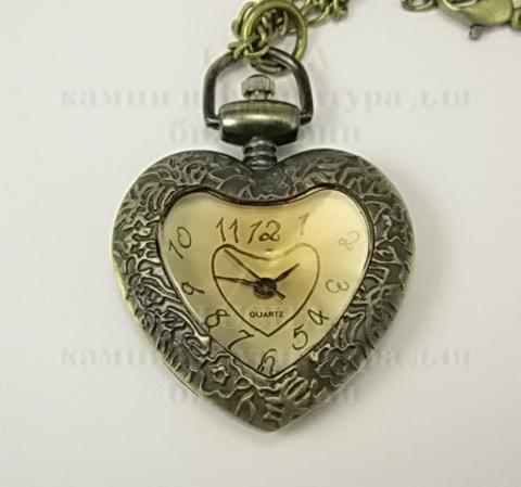 """Часы на цепочке """"Сердце-2"""" (цвет - античная бронза) 41x30Х10 мм"""
