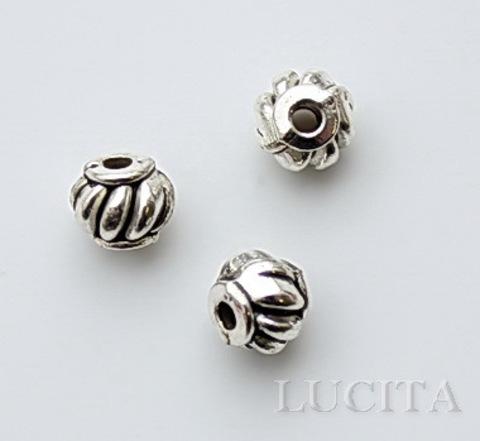 """Бусина металлическая """"Фонарик"""" (цвет - античное серебро) 7х6 мм, 10 штук"""
