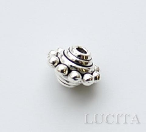 """Бусина металлическая """"Юла"""" (цвет - античное серебро) 10 мм"""