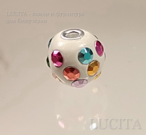 """Бусина """"Индонезийская"""" ручной работы белая с разноцветными стразами, 16 мм ()"""