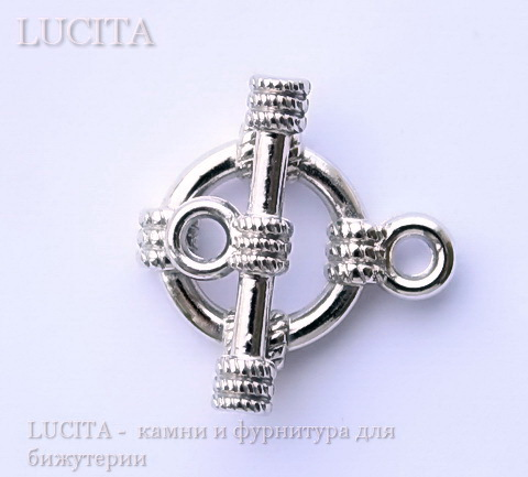 "Замок - тоггл из 2х частей ""Кольцо"" (цвет - никель) 19х15 мм , 20х7 мм ()"