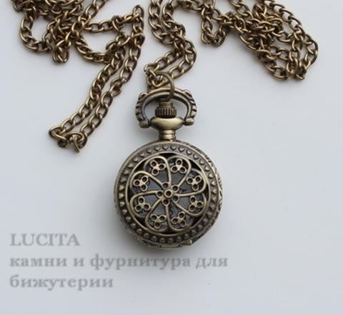 Часы на цепочке с филигранным цветком (цвет - античная бронза) 41х27х13 мм ()