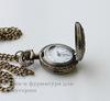Часы на цепочке с филигранным цветком (цвет - античная бронза) 41х27х13 мм