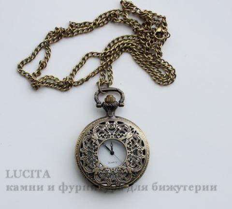 Часы на цепочке с филигранью (цвет - античная бронза) 56х40х13 мм
