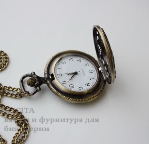 Часы на цепочке с филигранью (цвет - античная бронза) 56х40х13 мм ()