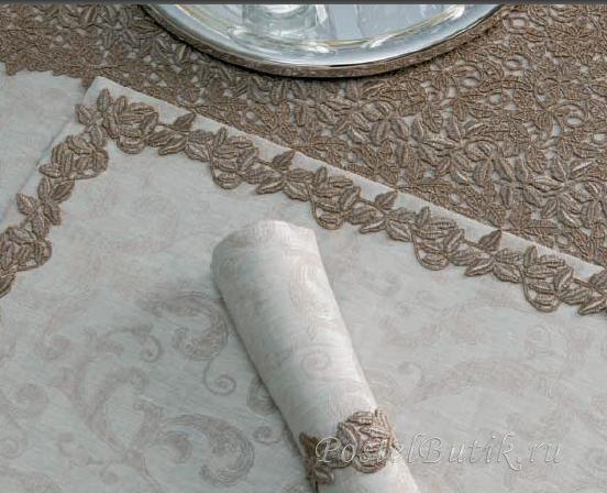 Скатерть 170х320 Weissfee Callista золотая