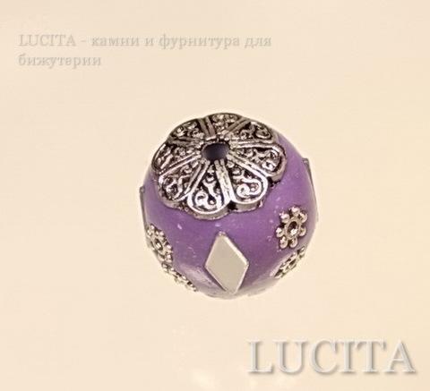 """Бусина """"Индонезийская"""" ручной работы фиолетовая, 17 мм ()"""
