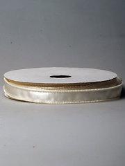 Лента атласная с каймой из бусин кремовая