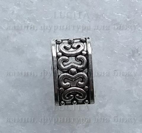 Разделитель на 2 нити (цвет - античное серебро) 13х8 мм