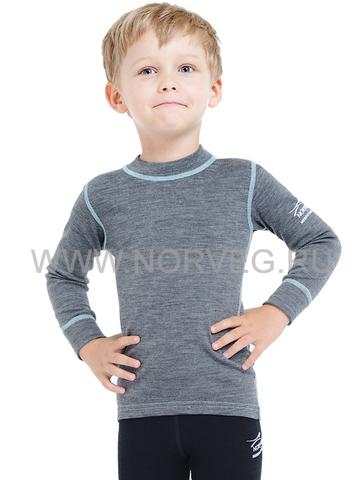 Термобелье футболка Norveg Soft  детская с длинным рукавом серая