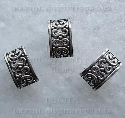 Разделитель на 2 нити (цвет - античное серебро) 13х8 мм ()