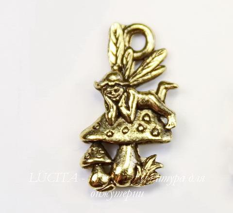 """Подвеска Quest Beads """"Эльф на грибочке"""" (цвет-античное золото) 19х10 мм"""