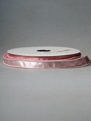 Лента атласная с каймой из бусин розовая
