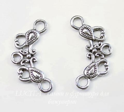 "Коннектор Quest Beads ""Две капли"" 26х14 мм (цвет-античное серебро)"