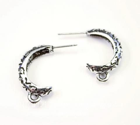 """Пуссеты - гвоздики Quest Beads """"Леопардовые"""" 22х14х5 мм (цвет-античное серебро)(без заглушек), пара"""