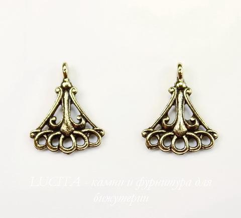 """Коннектор Quest Beads """"Fleur de Lys"""" (1-5) 17х14 мм (цвет-античное золото)"""