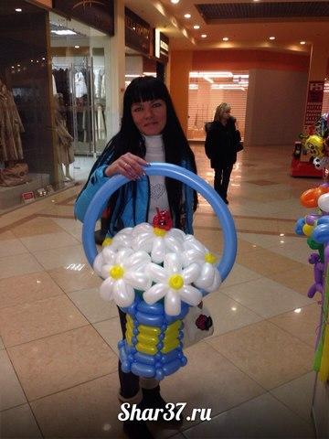 Корзинка из шариков на Shar37.ru голубая
