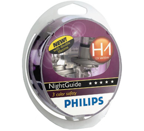 Галогенные лампы Philips H1 NightGuide DoubleLife (три спектра) (2шт.)