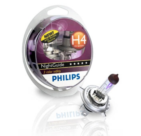 Галогенные лампы Philips H4 NightGuide DoubleLife (три спектра) (2шт.)
