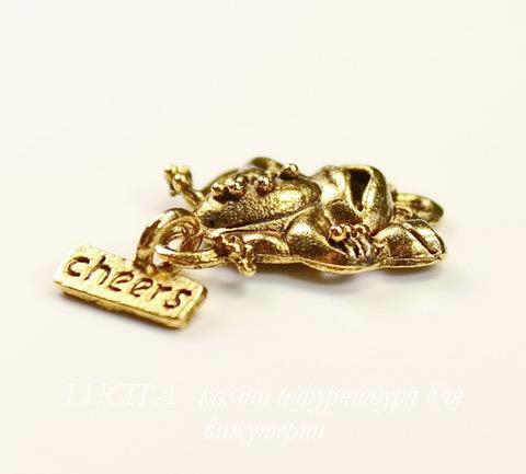 """Подвеска Quest Beads """"Лягушка"""" (цвет-античное золото) 20х15 мм"""