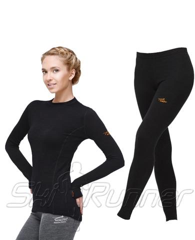 Комплект термобелья с шерстью мериноса Norveg Lady Classic Black женский