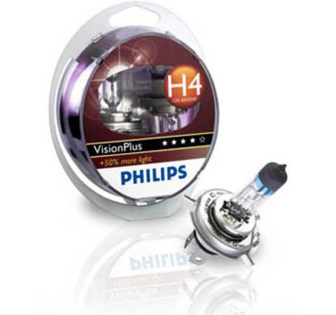 Галогенные лампы Philips H4 VisionPlus + 50% (2шт.)