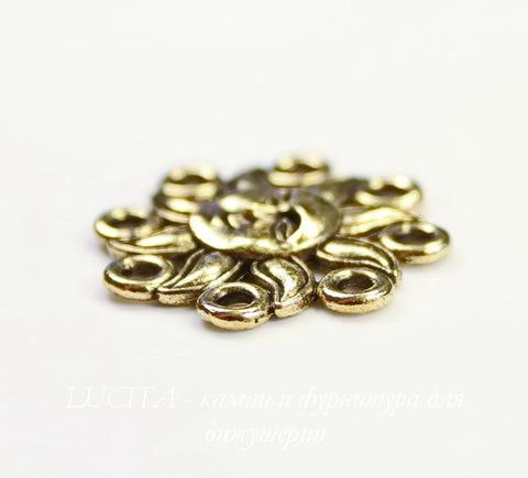 """Коннектор Quest Beads """"Солнце"""" 19 мм (цвет-античное золото)"""