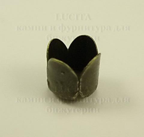 Концевик в виде цветка для шнура 8 мм (цвет - античная бронза) 8х8 мм, 10 штук ()