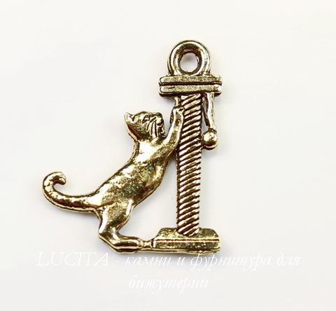 """Подвеска Quest Beads """"Кот с когтеточкой"""" (цвет-античное золото) 20х17 мм"""