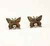 "Пуссеты - гвоздики Quest Beads ""Бабочки"" 14х11 мм (цвет-античное золото)(без заглушек), пара"