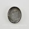 Сеттинг - основа с зубчатым краем для камеи или кабошона 10х8 мм (оксид серебра) ()